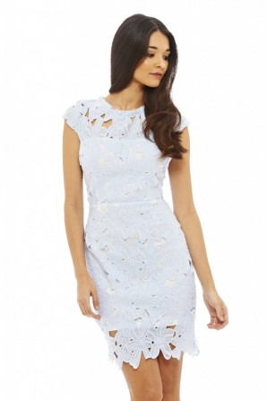 Women's Capped Sleeved Crochet Blue Dress