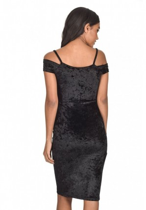 Women's Black Crushed Velvet Wrap Dress