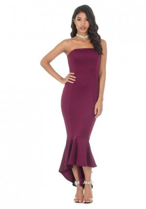 Women's Plum Bandeau Fishtail Dress