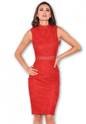 Women's Lace Red Midi Dress