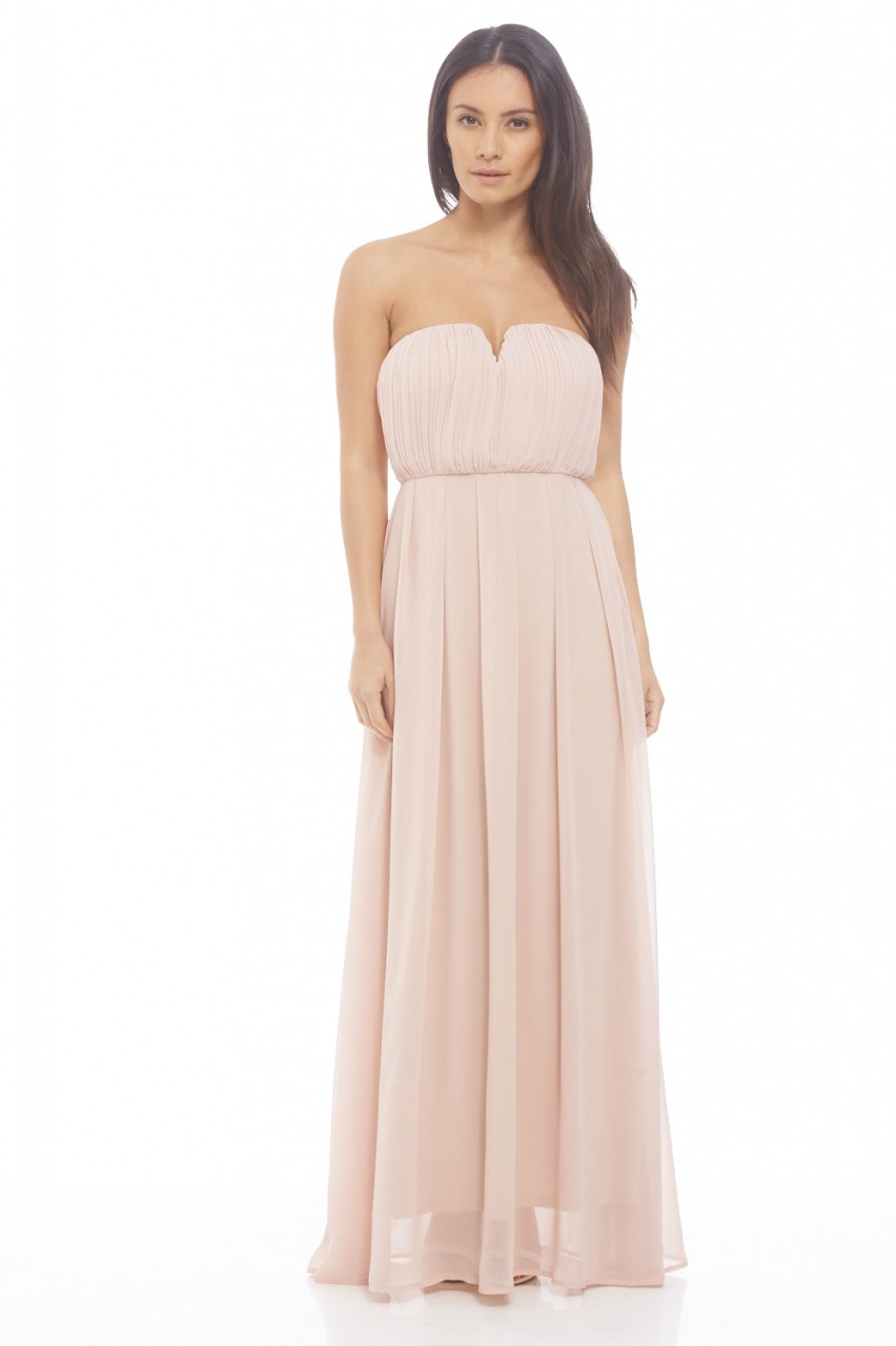 Womens Chiffon Pleat Front Plain Maxi Nude Dress - Party Dresses ...