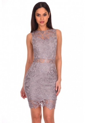 Women's Silver Crochet Embroidered Midi Dress