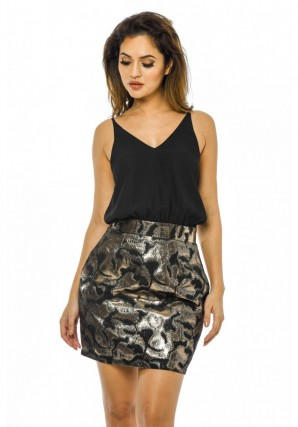 Women's 2 in 1 Metallic Skirt  Black Gold Dress