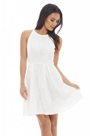 Women's Lace Skater Cream Dress
