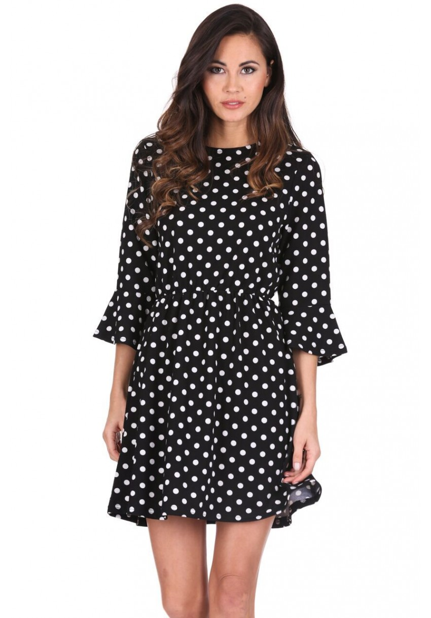 9be6280625f Women s Black Polka Dot Long Sleeve Skater Dress - AX Paris USA ...