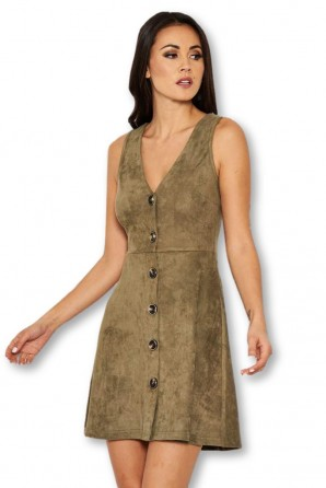 Women's Khaki Suede Button Front Dress