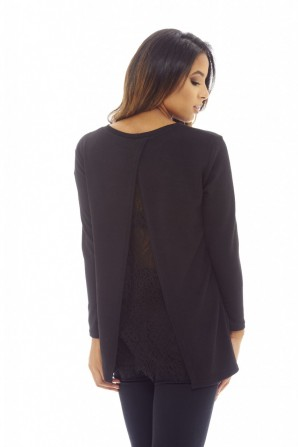 Women's Split Back Lace  Knitted   Black Top