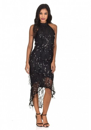 Women's Black Cut In Dipped Hem Sequin Dress