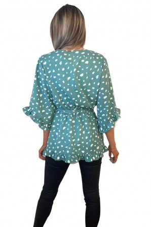 Women's Green Printed Frill Sleeve Wrap Top