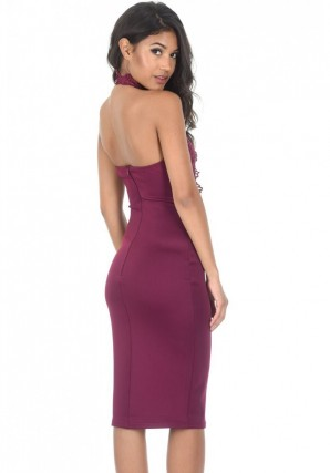 Women's Plum Lace Choker Midi dress