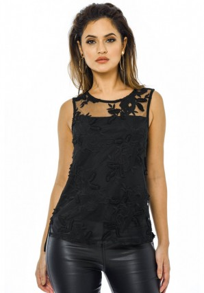 Women's Black Lace Front Top