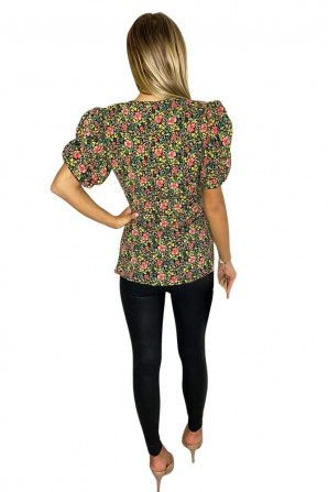 Women's Floral Printed Ruffle Puff Sleeve Wrap Top