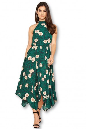 Women's Green Floral Print High Neck Dress