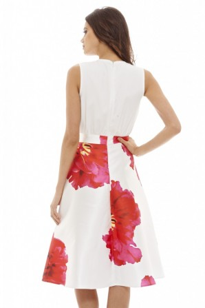 Women's 2 in 1 Floral  Midi  Cream Dress