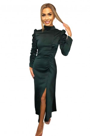 Women's Rounched Sleeve Midi Dress
