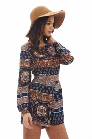 Women's Aztec Printed  Multicolor Blue Playsuit