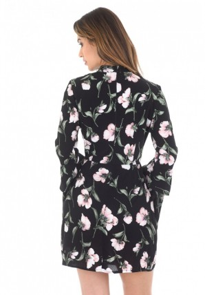Women's Black Floral Mini With Long Frill Bell Sleeves
