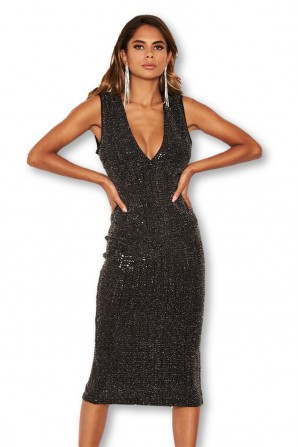 Women's Black Sparkle V Neck Midi Dress