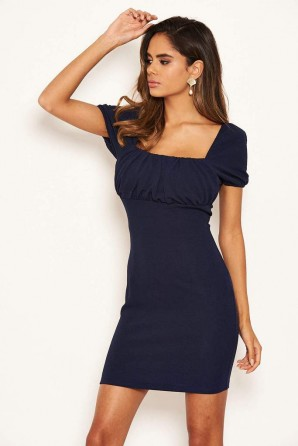 Women's Navy Square Neck Ruched Bodycon Mini Dress