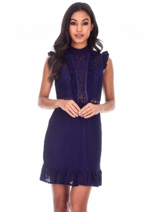 Women's Navy Lace Frill Detail Dress