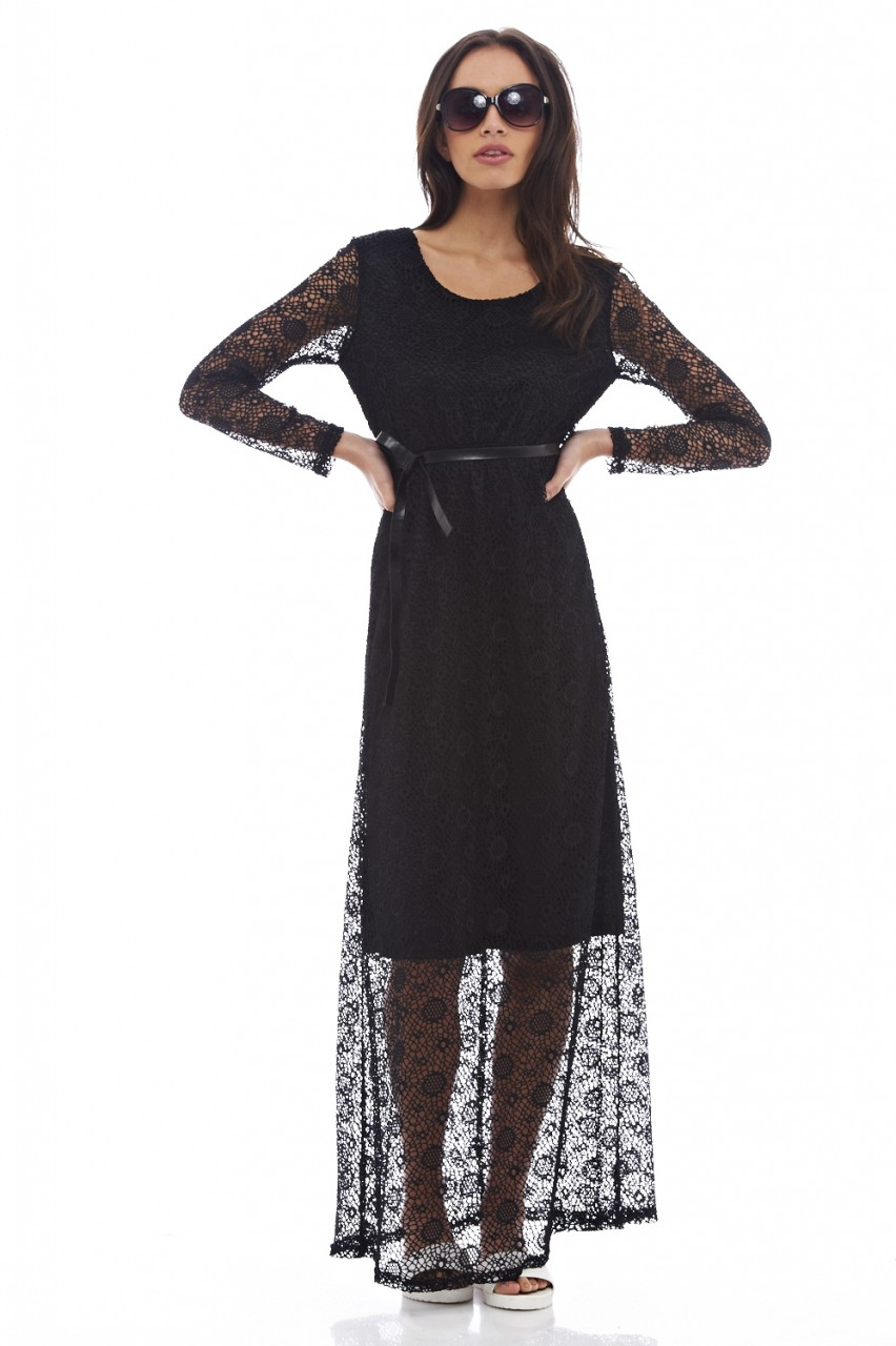 555ae7bfe46 Ax Paris Black Long Sleeve Lace Maxi Dress - Gomes Weine AG