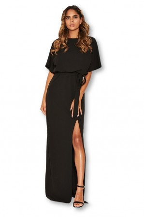 Women's Black High Neck Split Thigh Maxi Dress