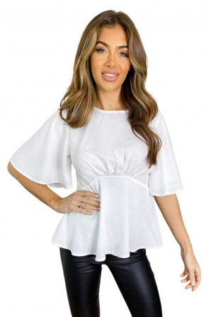 Women's Cream Flared Blouse