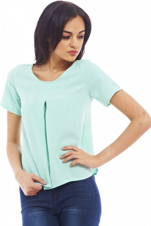 Women's Plain Pleat Frontsoft Aqua Top
