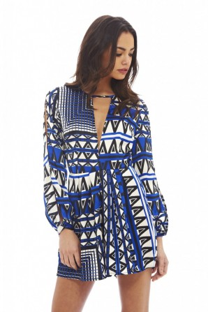 Women's Geometric Printed  Blue Playsuit