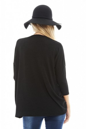 Women's Knitted Wrap Front Black Sweater