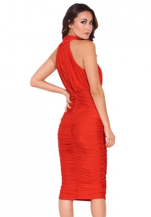 Women's Red Ruched Halterneck Slinky Bodycon Dress