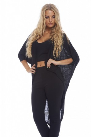 Fine Plain Knitted Long Sleeve Black Top