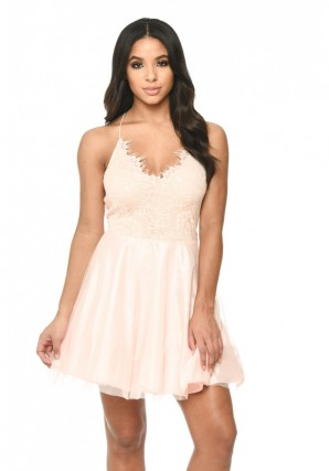 Women's Pink Prom Lace Detail Dress