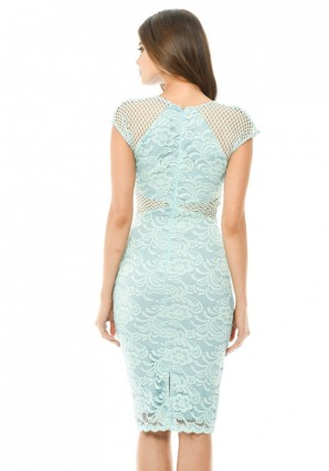 Women's Green V Neck Mesh Lace Bodycon Midi Dress