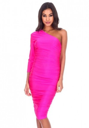 Women's Cerise One Sleeve Slinky Midi Dress