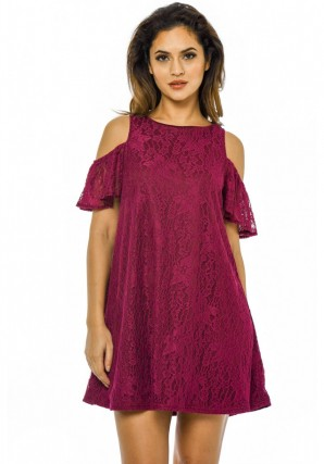 Women's Lace Cold Shoulder Swing  Plum Dress