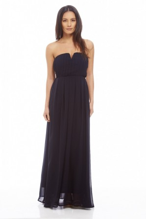 Women's Chiffon Pleat Front Plain Maxi Navy Dress
