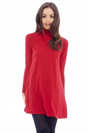 Women's Turtle Neck Swing Red Dress