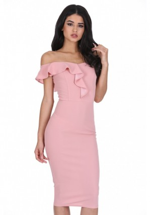Women's Blush Off The Shoulder Frill Detail Midi Dress