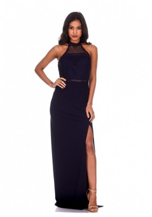 Women's Navy Crochet Top High Neck Maxi Dress