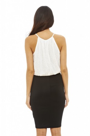 Women's Contrast Lace Cream Black Dress