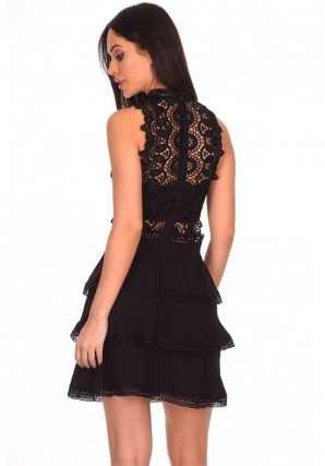 Women's Black Crochet Skater Dress