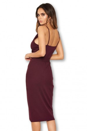 Women's Plum Button Front Detail Bodycon Midi Dress