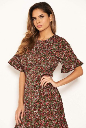 Women's Red Disty Floral Day Dress