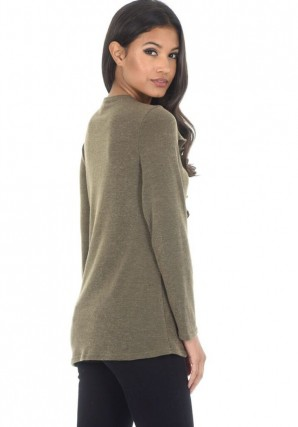 Women's Khaki Frill Detail Sweater