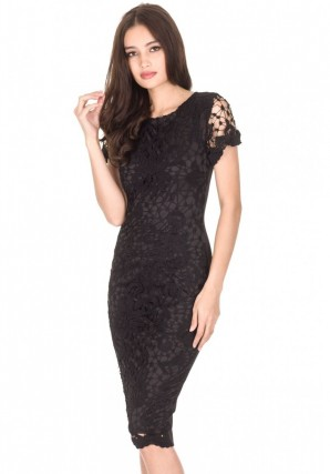 Women's  Black Crochet Midi Dress