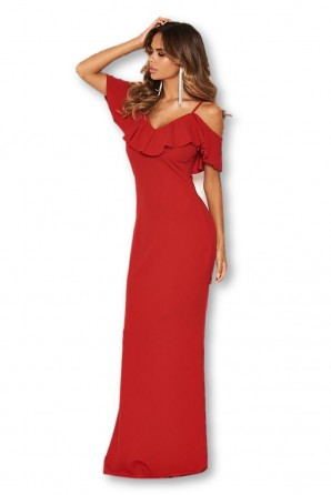 Women's Red Frill Cold Shoulder Maxi Dress