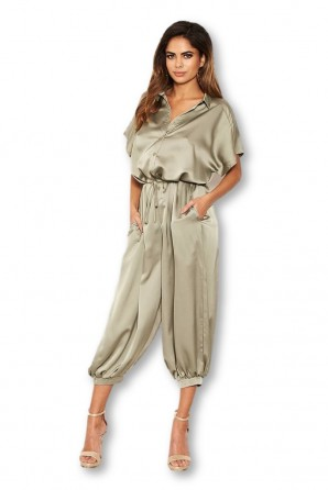 Women's Sage Button Up Jumpsuit
