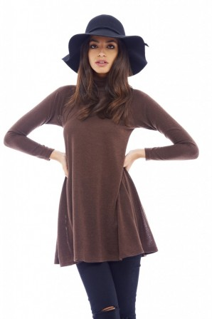 Women's Turtle Neck Swing Chocolate Dress