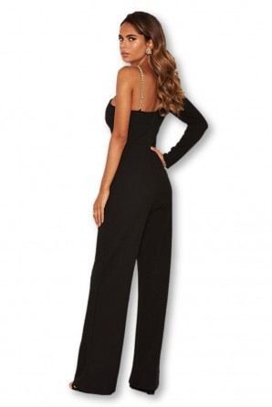 Women's Black One Shoulder Jumpsuit With Chain Detail